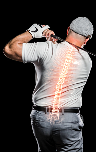 man golfing, doctor to see for lower back pain